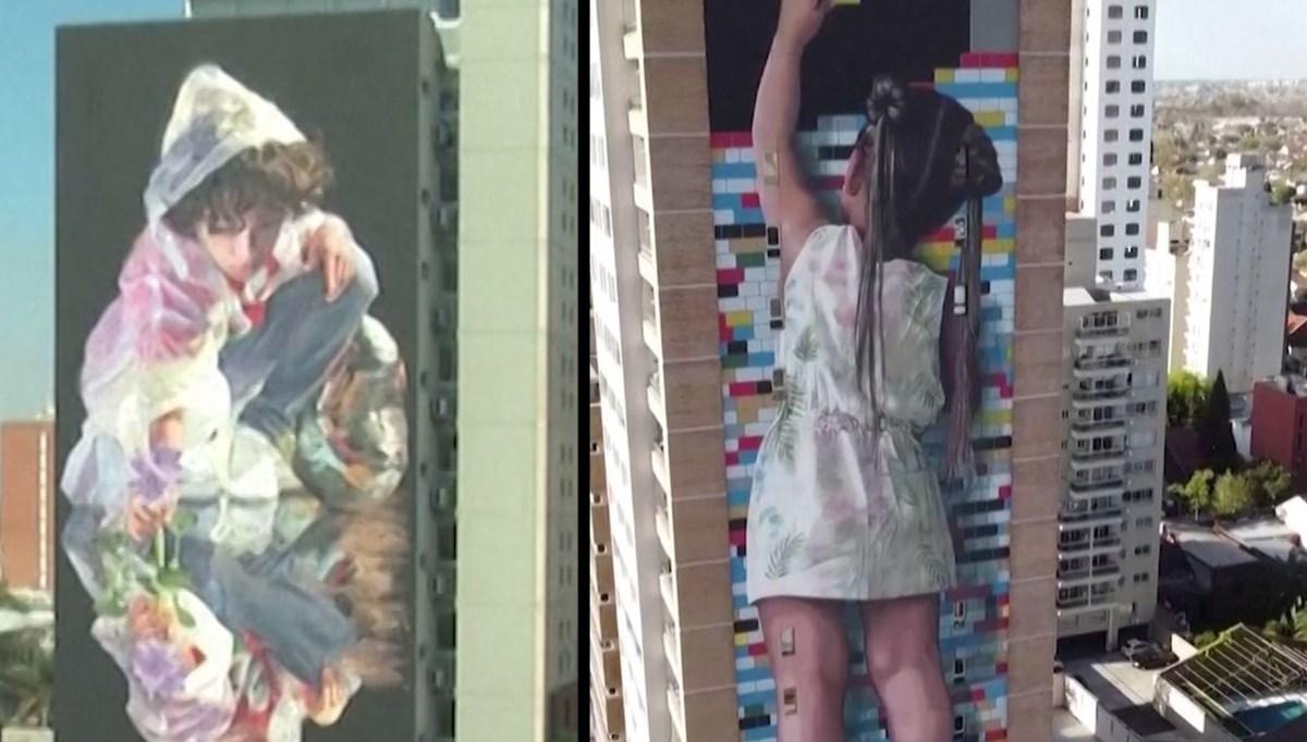 Dev duvar resimleri apartmanları süslüyor