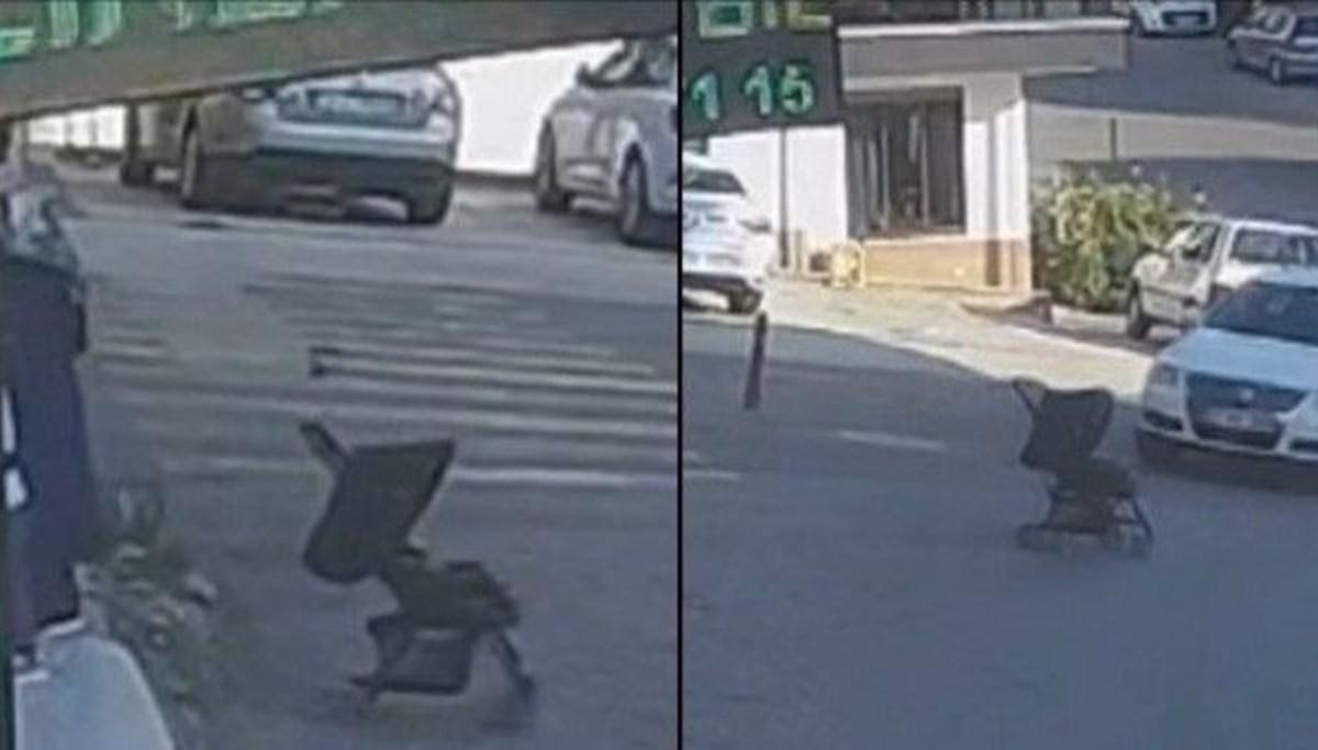 Sinop'ta yokuş aşağı kayan bebek arabası bahçeye düştü