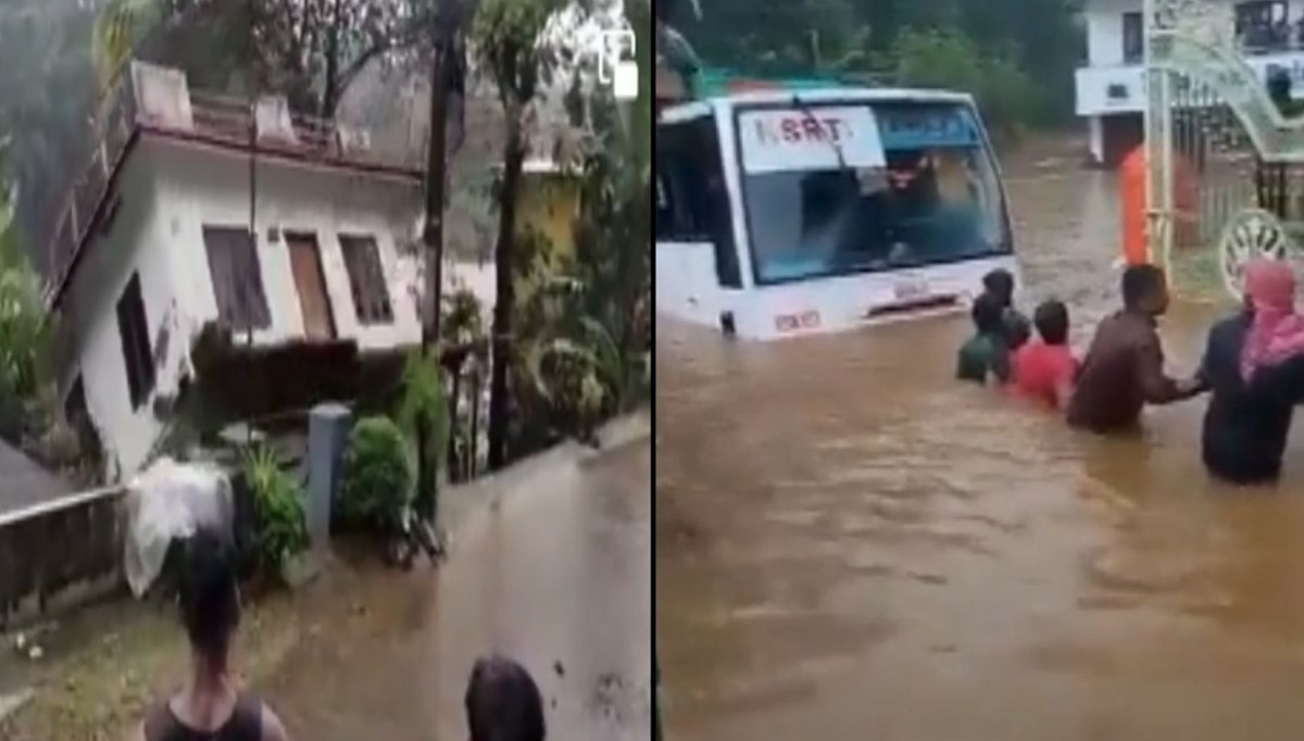 Hindistan'da sel felaketi: Taşan nehir evi böyle yıktı